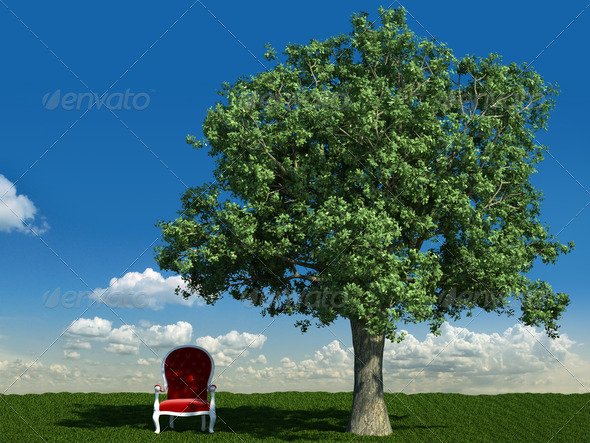 armchair and tree in the meadows - Stock Photo - Images