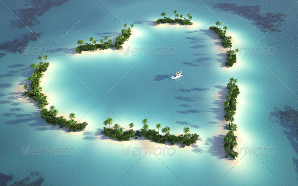 aerial view of heart-shaped island - Stock Photo - Images