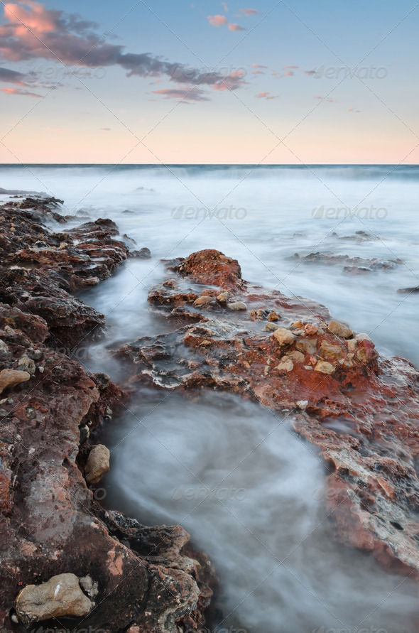 vertical seascape at sunset - Stock Photo - Images
