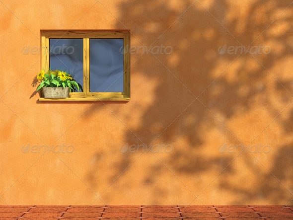 window on orange wall - Stock Photo - Images
