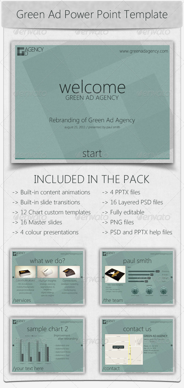 Green Ad Agency Power Point Template - Powerpoint Templates Presentation Templates