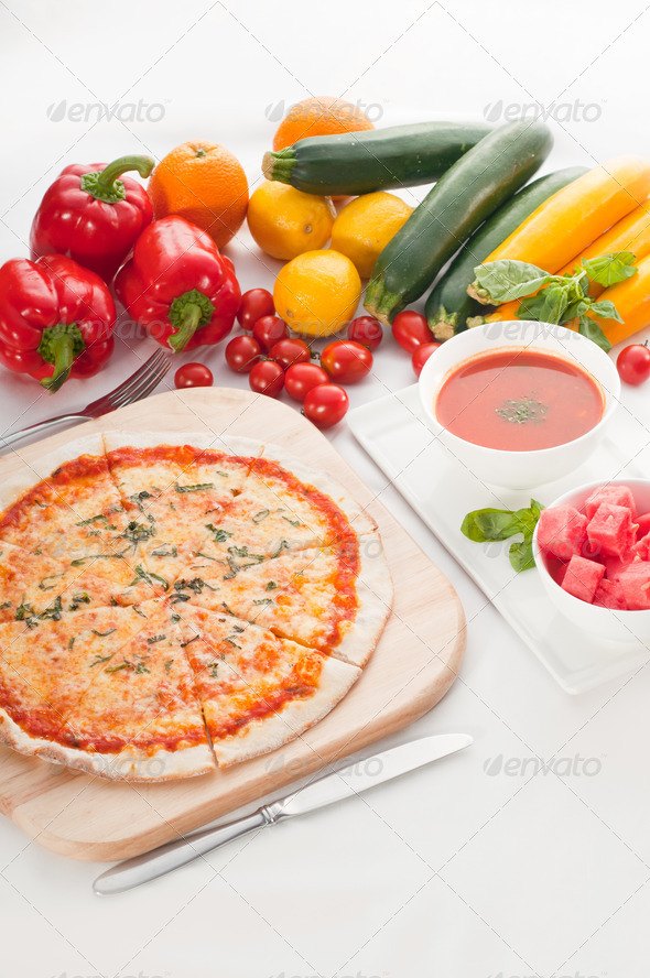 Italian original thin crust pizza - Stock Photo - Images