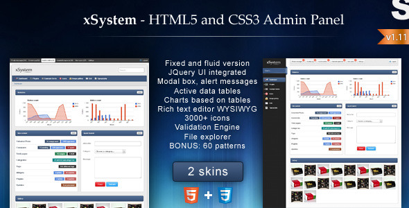 xSystem -  HTML5 and CSS3 Admin Template