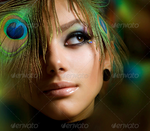 Stock Photo - PhotoDune Beautiful Fashion Girl Face Peacock Makeup 1159028