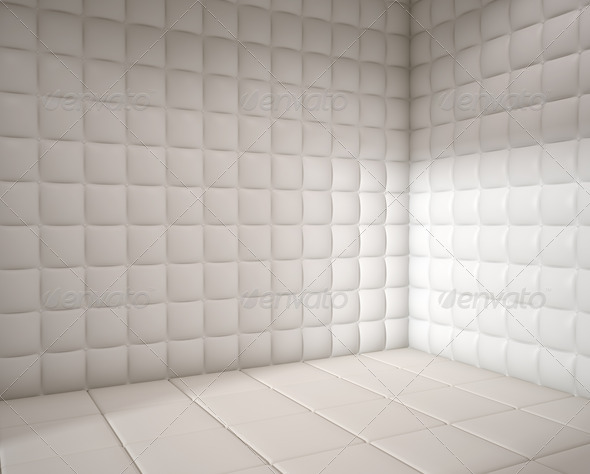 empty white padded room - Stock Photo - Images