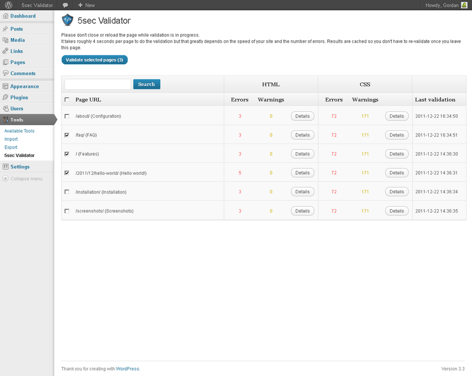 5sec Validator - 5sec Validator - Validate your complete site with a single click