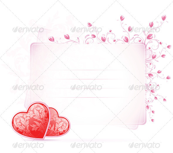 Valentines Day Card with Flowers - Valentines Seasons/Holidays