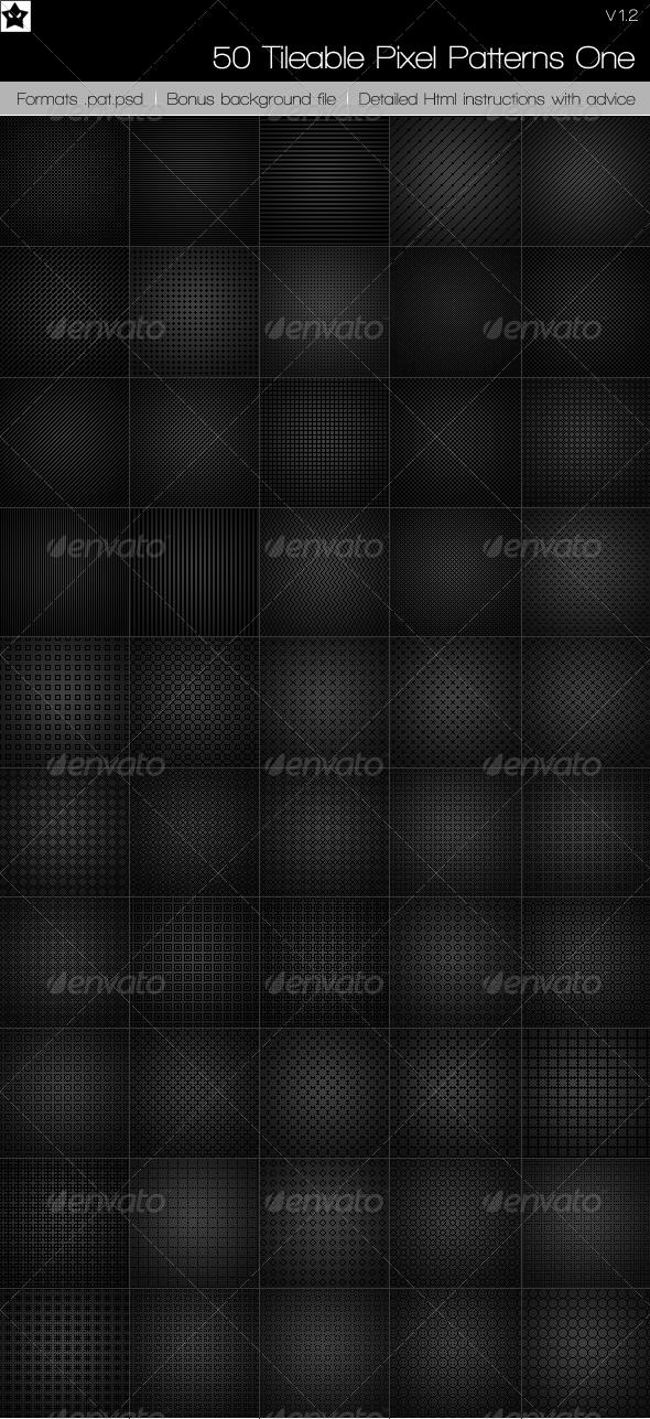 GraphicRiver 50 Tileable pixel Patterns 83436