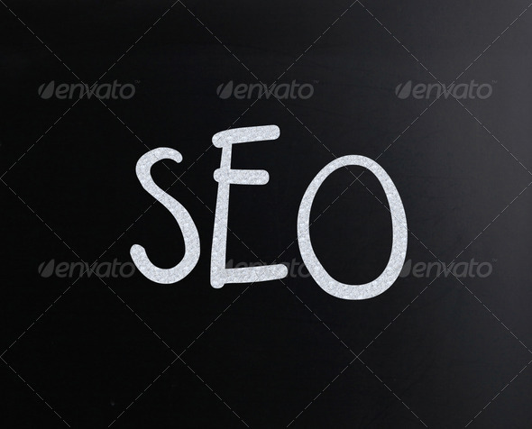 "The word ""SEO"" handwritten with white chalk on a blackboard - Stock Photo - Images"