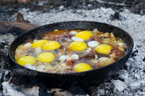 Close-up of fried eggs - Stock Photo - Images