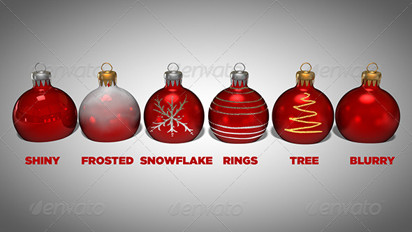 6 High Quality Christmas Ornaments - 3DOcean Item for Sale