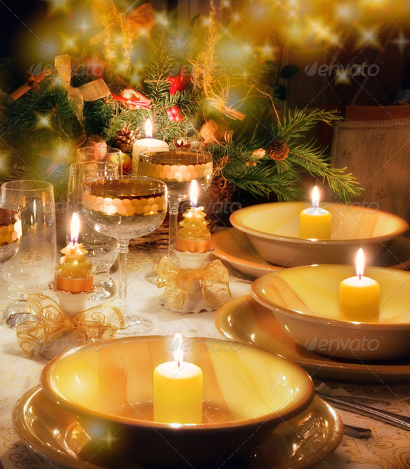 Christmas dinner table  with christmas mood - Stock Photo - Images