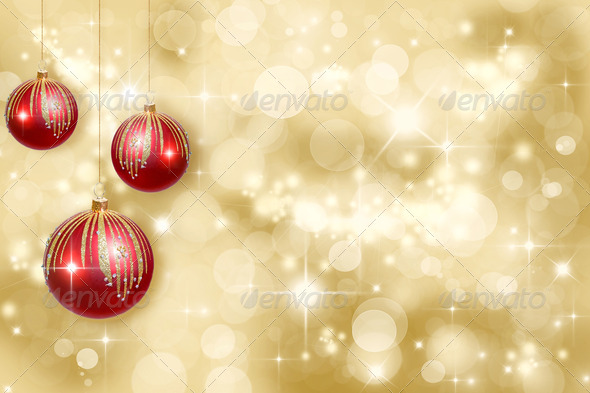 Christmas ornaments on a gold background - Stock Photo - Images