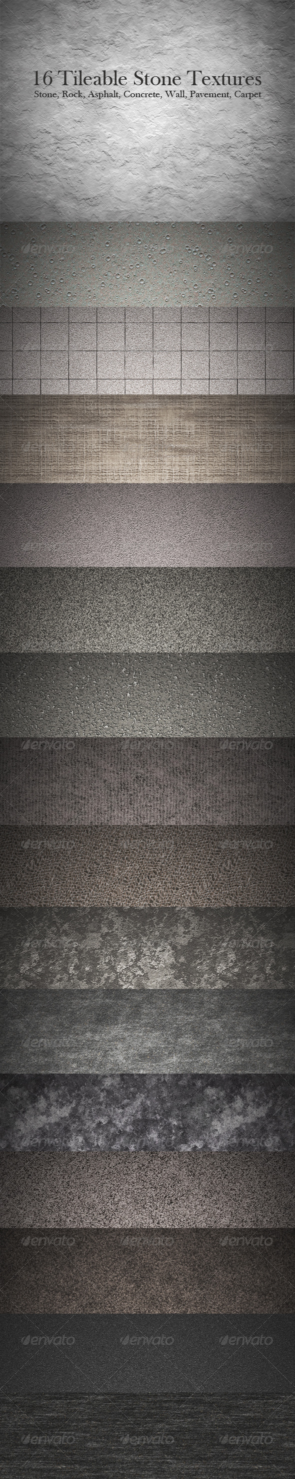16 Tileable Stone Texture Patterns - Miscellaneous Textures / Fills / Patterns