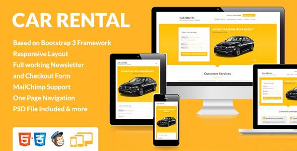 Car Rental Landing Page Themeforest