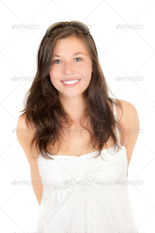 Portrait of a cute girl wearing sunglasses - Stock Photo - Images