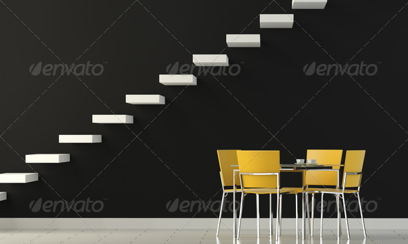 interior design black wall with white stairs and four yellow chairs