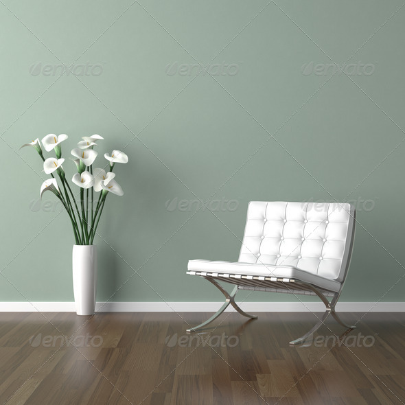 Stock Photo - PhotoDune white barcelona chair on green 1175991