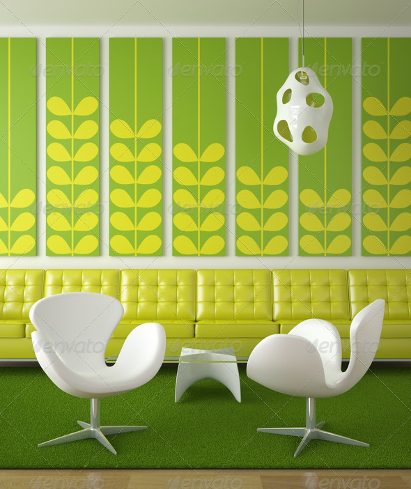 retro interior design green - Stock Photo - Images