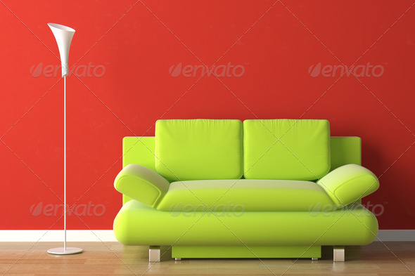 interior design green couch on red - Stock Photo - Images