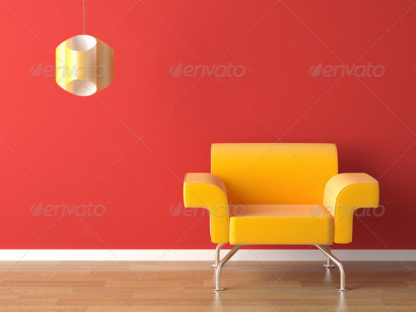 interior design yellow on red - Stock Photo - Images