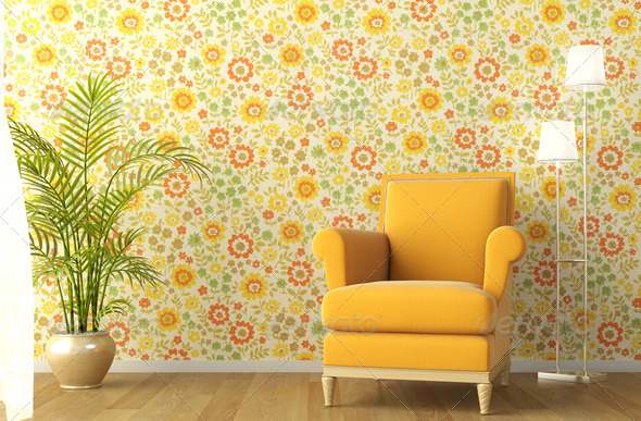 interior with armchair and flowery wallpaper - Stock Photo - Images