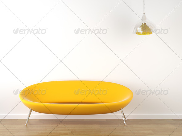 interior design yellow couch on white - Stock Photo - Images