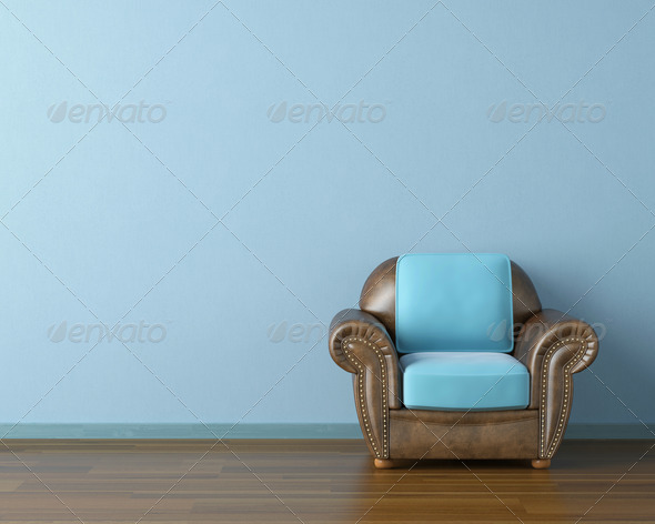 blue interior with couch - Stock Photo - Images