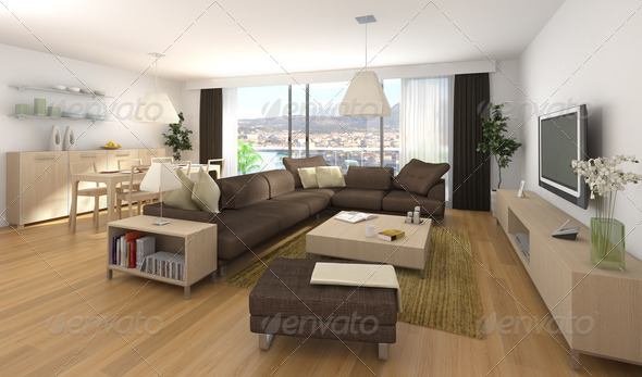 modern interior design of apartment - Stock Photo - Images