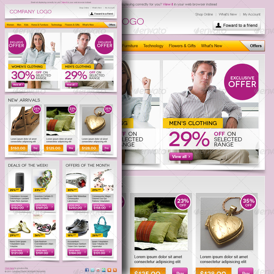 E-commerce Offers Email Template Design Vol.3