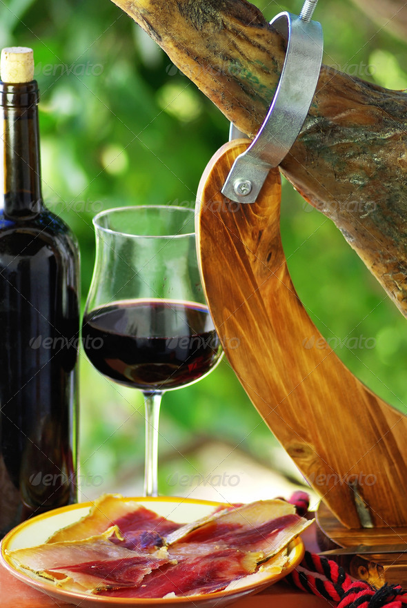 jamon and wine - Stock Photo - Images