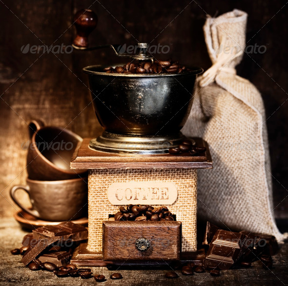 Stiill life with Antique coffee grinder - Stock Photo - Images