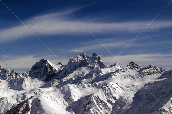 Panoramic view from Elbrus - Stock Photo - Images