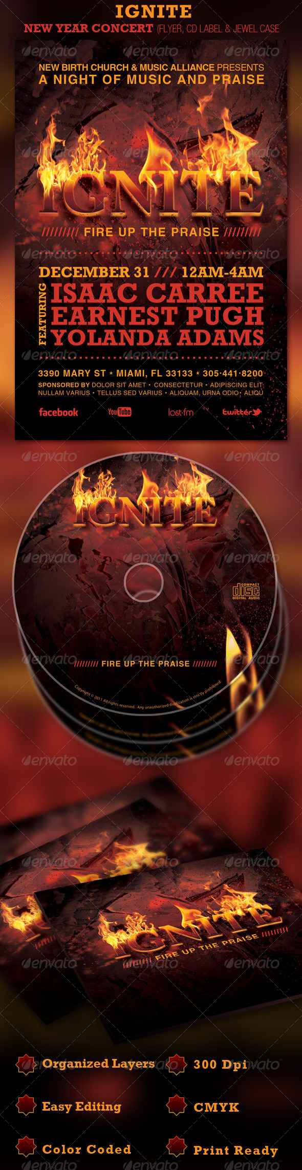 IGNITE New Year Concert Flyer and CD Template - Church Flyers