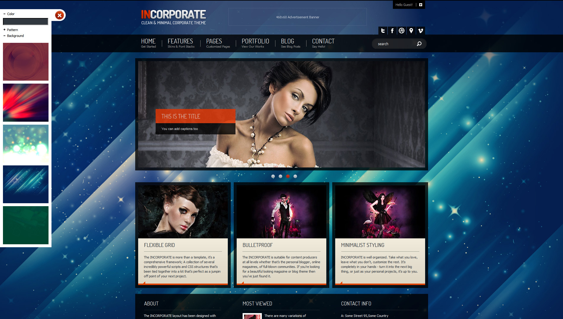 Incorporate Portfolio HTML Template - Homepage with background image and settings menu