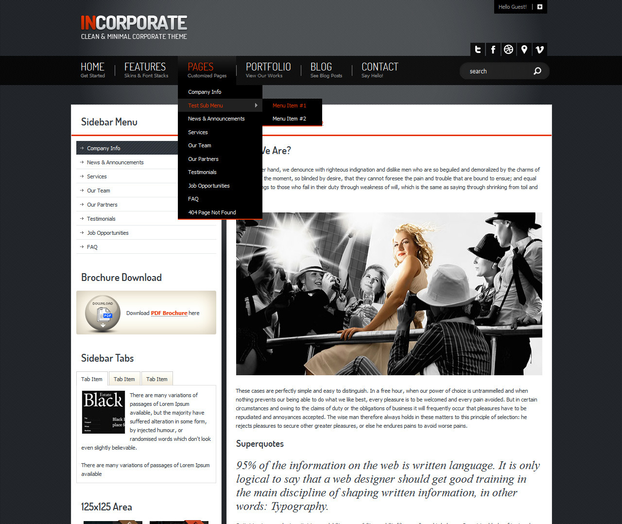 Incorporate Portfolio HTML Template - About page with Dropdown menu opened