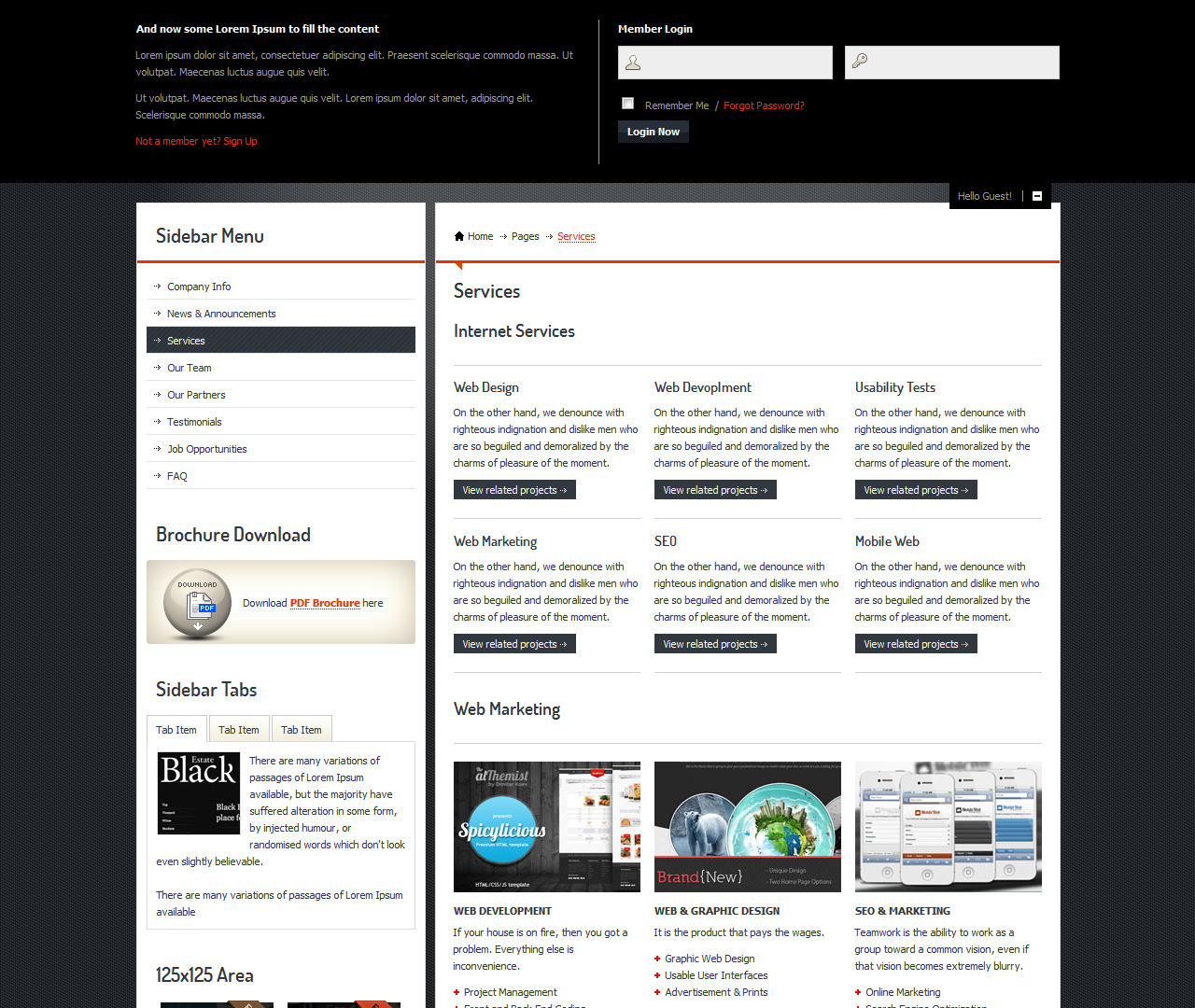 Incorporate Portfolio HTML Template - Services page with Sliding login panel opened