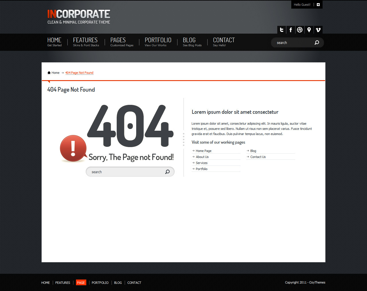 Incorporate Portfolio HTML Template - 404 Page not found template