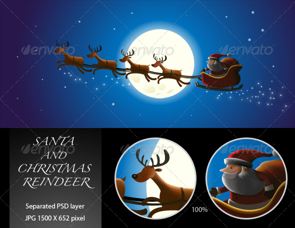 Santa and Christmas Reindeer - Characters Illustrations