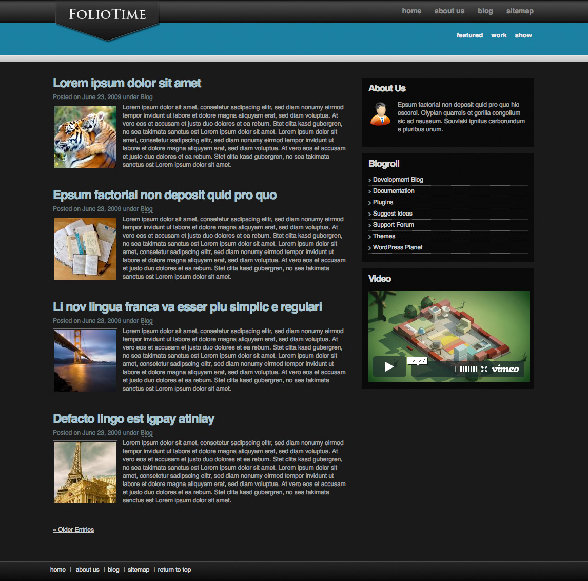 FolioTime | Wordpress showcase and blog - Sample view of the blog archive