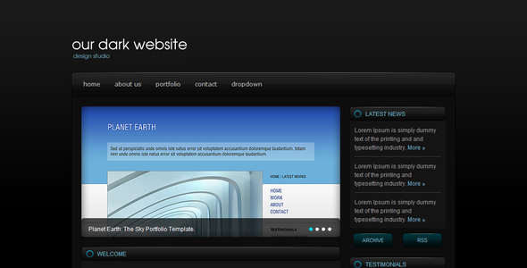 ThemeForest Dark & Blue Portfolio Template 39409