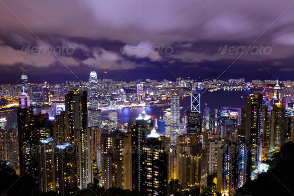 Hong Kong night - Stock Photo - Images