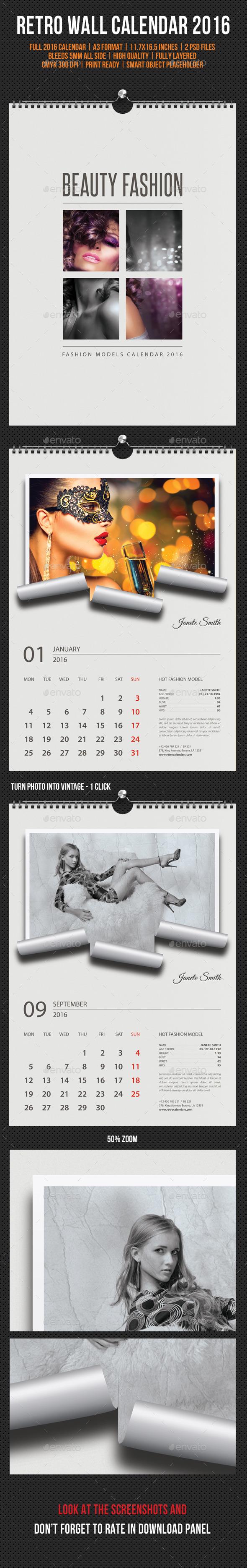 GraphicRiver - Wall Calendar 2016 Retro Photo V02 11827782