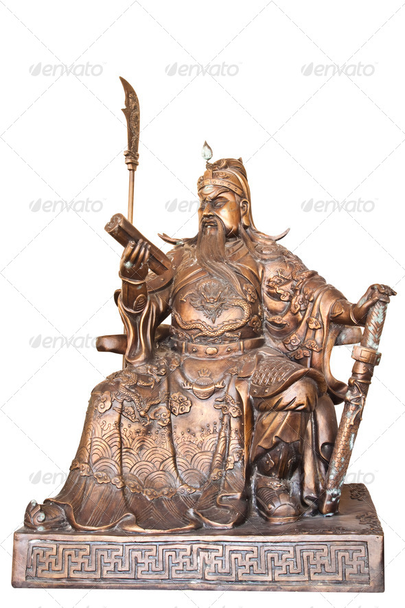 Chinese legend of the god's statue isolated on white background,with clipping path. - Stock Photo - Images
