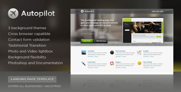 Autopilot Landing Page (3 Themes) - Screenshot 01 - Autopilot Preview