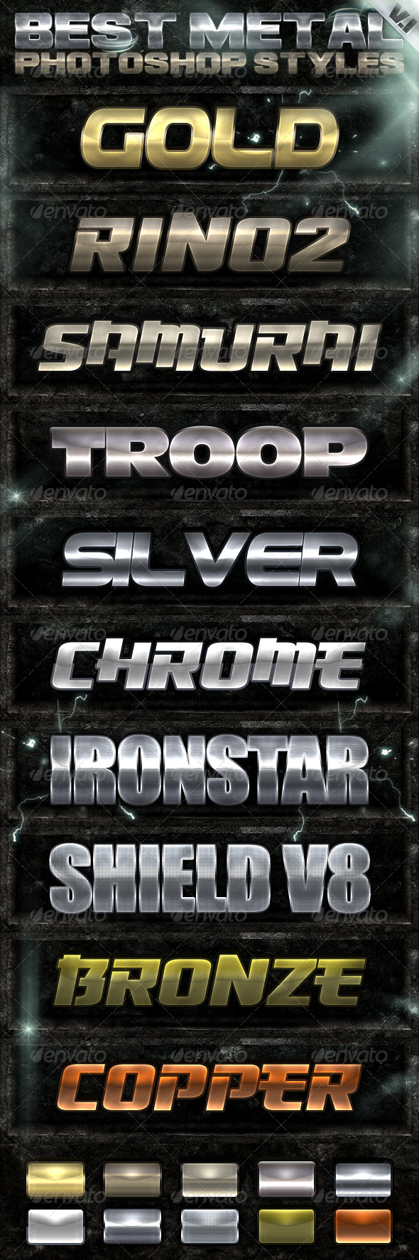 10 Metal Photoshop Styles - Text Effects Styles