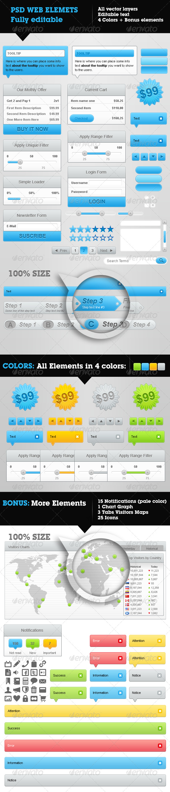 Web Elements Collection - 4 colors & Bonus - Miscellaneous Web Elements