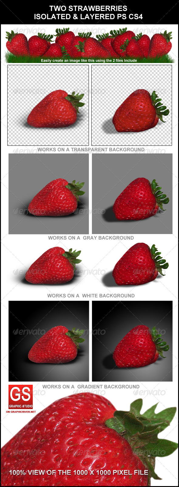 GraphicRiver Strawberry Fruits 2 different Versions & Bonus 137684