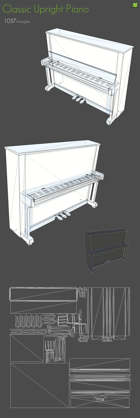 3DOcean Classic Upright Piano 1179296