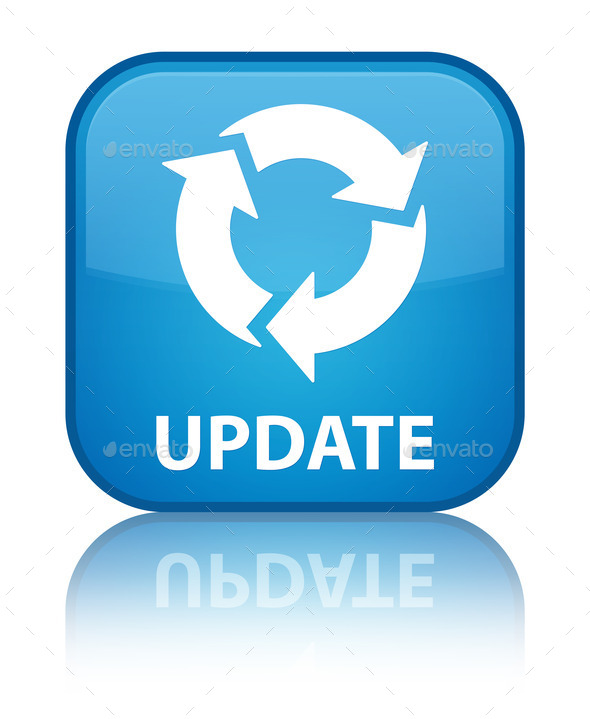 update refresh icon cyan blue square button stock photo